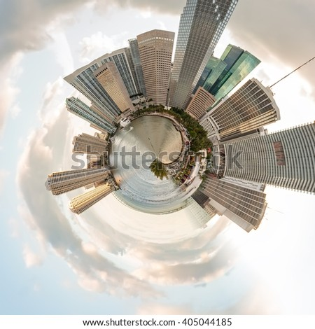 Planet Downtown Miami - Miniature planet of Downtown Miami, with modern buildings and attractions of the city. - stock photo