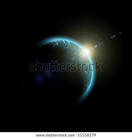 Planet Earth. Abstract Space sunrise