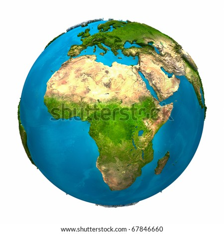 Planet Earth - Africa - colorful globe with detailed and realistic surface, 3d render - stock photo