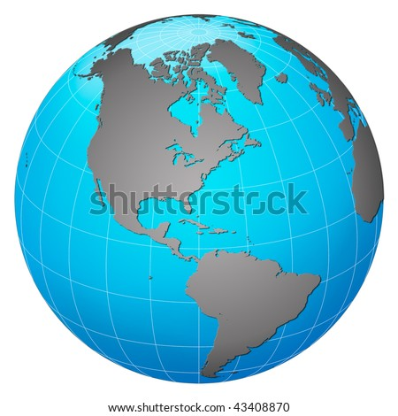 Planet earth, America centric - stock photo