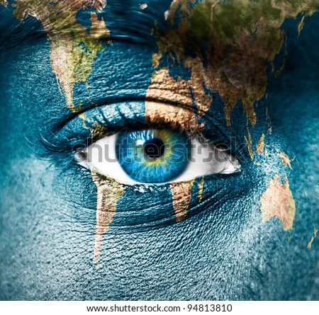 "Planet Earth and human eye - ""Elements of this image furnished by NASA"" - stock photo"