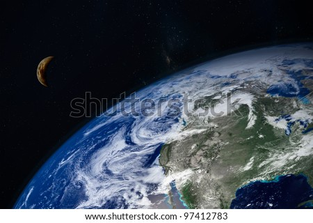 planet Earth and moon - stock photo