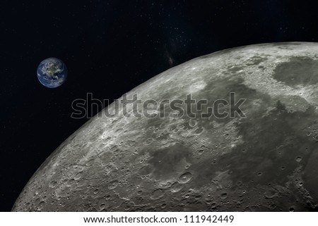 planet Earth and moon,Elements of this image furnished by NASA. - stock photo