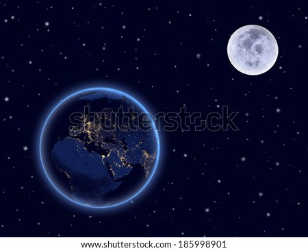 Planet earth and moon on night sky. Europe, Africa and Asia. Elements of this image furnished by NASA. - stock photo