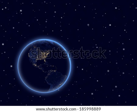 Planet earth and moon on night sky. North and South America. Elements of this image furnished by NASA. - stock photo