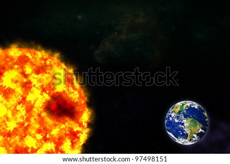 planet Earth and sun in galaxy space - stock photo
