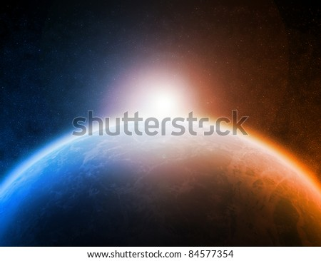 Planet Earth and sunrise - stock photo