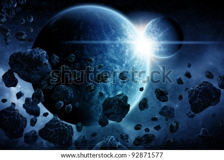 Planet Earth apocalypse illustration - stock photo