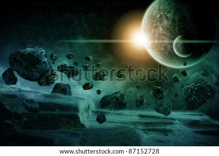 Planet earth apocalypse : meteorites attack - stock photo