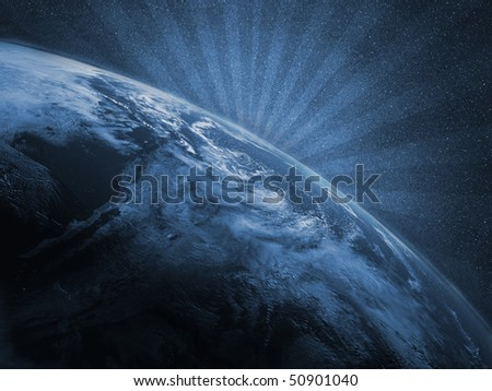 Planet Earth as an illustration with rays - stock photo