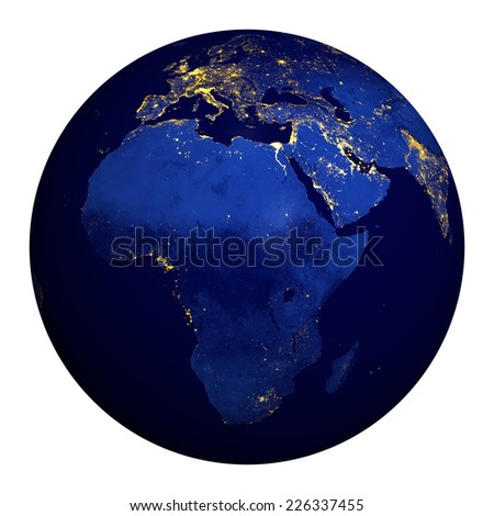 Planet earth at night. Africa, part of Europe and Asia.  Elements of this image furnished by NASA. - stock photo