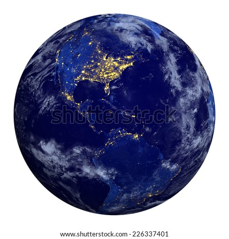 Planet earth at night and clouds. North and South America.  Elements of this image furnished by NASA. - stock photo
