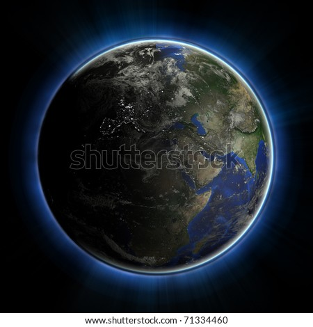 Planet Earth at night. Maps from NASA - stock photo