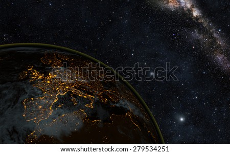 Planet earth at night with space background Elements of this image furnished by NASA - stock photo