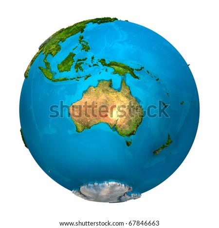 Planet Earth - Australia - colorful globe with detailed and realistic surface, 3d render - stock photo