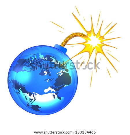 planet earth bomb, isolated on white background raster - stock photo