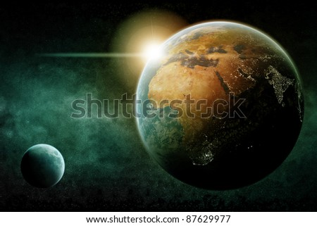 Planet earth city night lights - stock photo