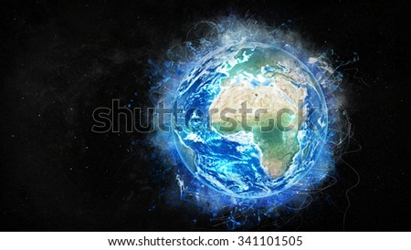 Planet Earth 3D Globe Artwork (Elements of this image furnished by NASA.)  - stock photo