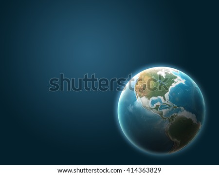 Planet earth 3D Illustration on dark blue background. Elements of this image furnished by NASA