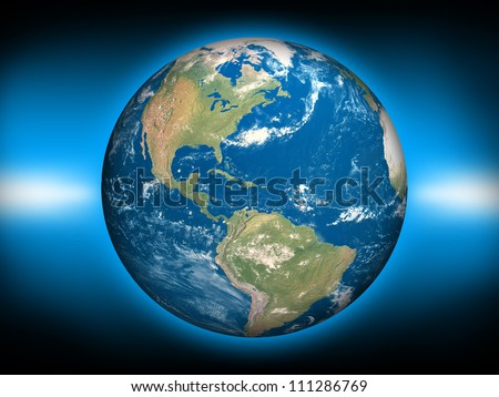 Planet earth (3D render of Planet Earth. Earth texture map source : http://www.shadedrelief.com/natural3/pages/textures.html) - stock photo