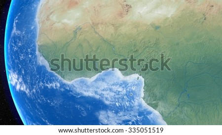 Planet Earth 3D Snapshot of The Western African Continent. Elements of this image furnished by NASA - stock photo