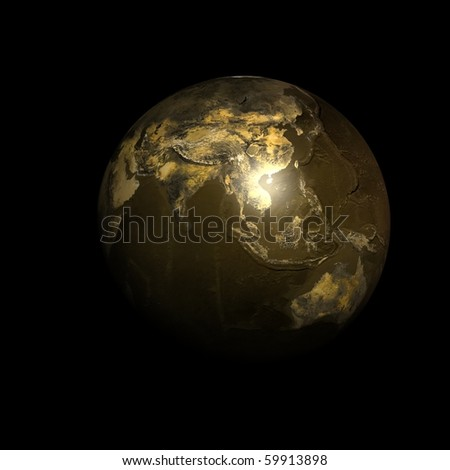 Planet Earth dark gold