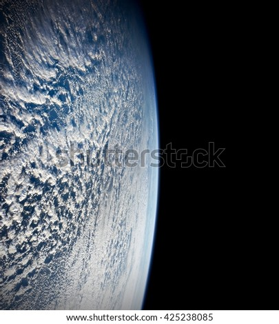 Planet Earth day outer space ocean aerial water global seascape environment view. Elements of this image furnished by NASA. - stock photo
