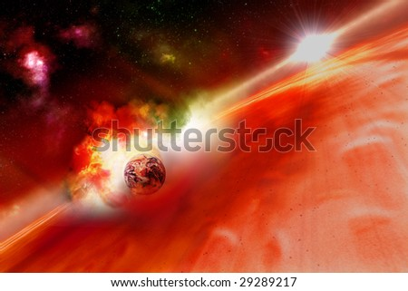 planet earth deep impact szenario - stock photo