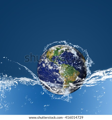 Planet Earth drop in to water with splashing, Global warming concept, Elements of this image furnished by NASA - stock photo
