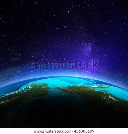 Planet Earth. Elements of this image furnished by NASA. 3D rendering - stock photo