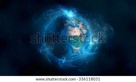 Planet Earth Energetic Field Beauty. Elements of this image furnished by NASA. - stock photo