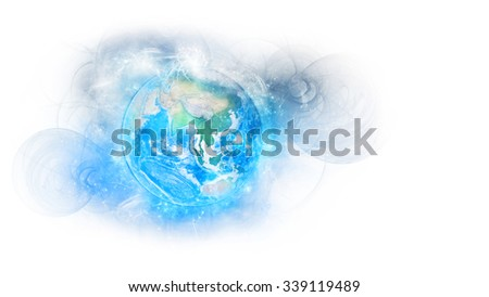 Planet Earth Energy Isolated - Asian Continent. Elements of this image furnished by NASA.