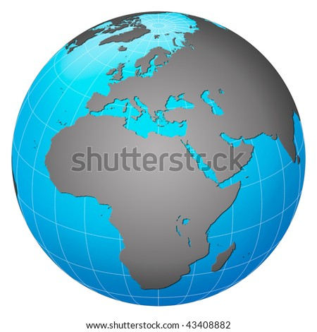 Planet earth, Europe centric - stock photo