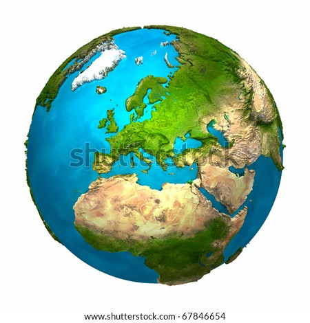 Planet Earth - Europe - colorful globe with detailed and realistic surface, 3d render - stock photo