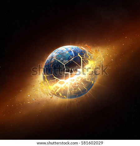 Planet earth explode in space  (Elements of this 3d image furnished by NASA -  texture maps from http://visibleearth.nasa.gov/) - stock photo