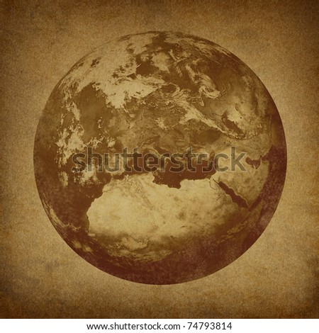 Planet Earth featuring Europe and European union countries including France Germany Italy and England son a grunge old parchment paper texture. - stock photo