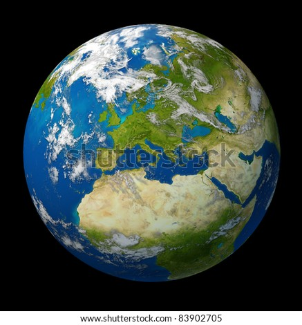 Planet Earth featuring Europe and European union countries including France Germany Italy and England surrounded by blue ocean and clouds on black background.