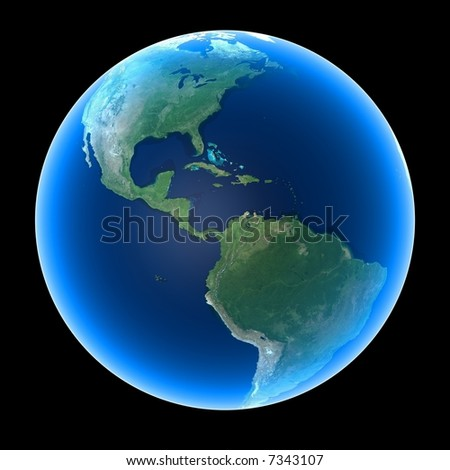 Planet Earth featuring North, Central and South America - stock photo