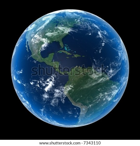 Planet Earth featuring North, Central and South America with clouds - stock photo