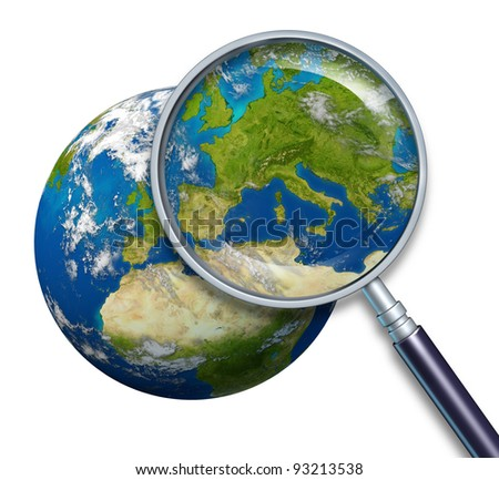Planet Earth focusing on Europe and European union countries including France Germany Italy and England Greece Spain Portugal surrounded by blue ocean and clouds with a magnifying glass on white. - stock photo