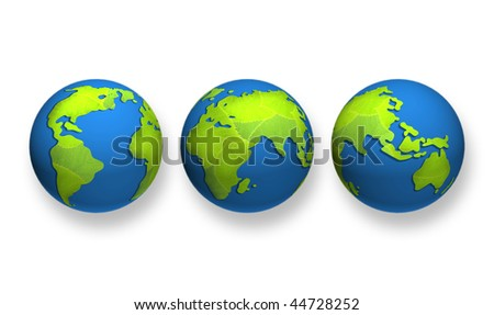 Planet  Earth from fresh leaves. world globe on white