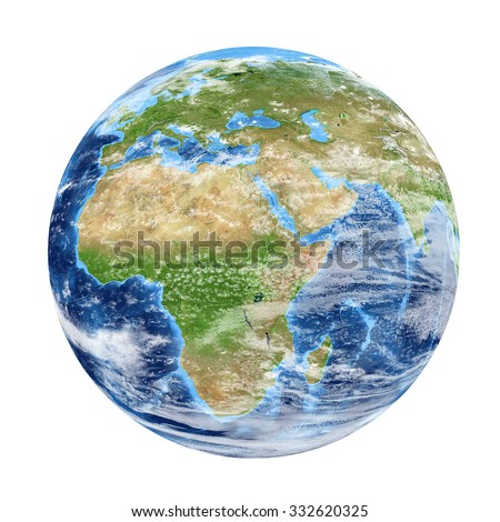 Planet Earth from space showing Africa & Europe. World isolated on white background. Elements of this image furnished by NASA - stock photo