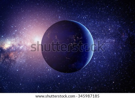 Planet earth from the space in the middle with stars. Some elements of this image furnished by NASA - stock photo