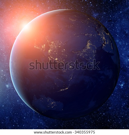 Planet earth from the space. Some elements of this image furnished by NASA - stock photo