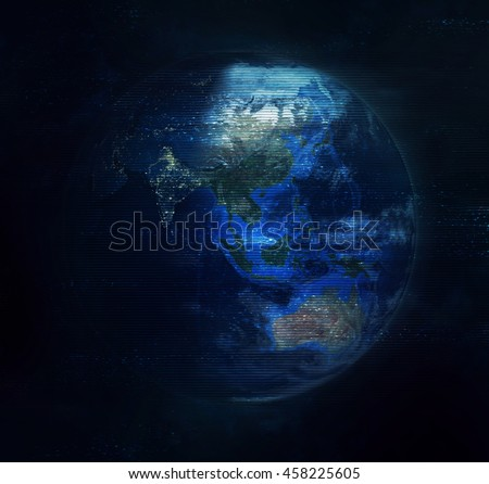 Planet Earth Global Hologram - Virtual Reality Technology (Elements of this image furnished by NASA) 3D Illustration
