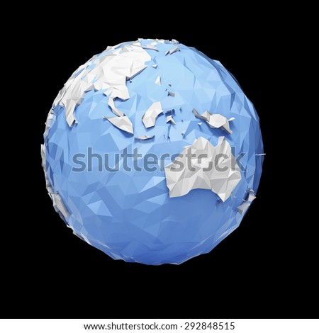 Planet Earth globe - Asia, Australia - isolated with clipping path - stock photo