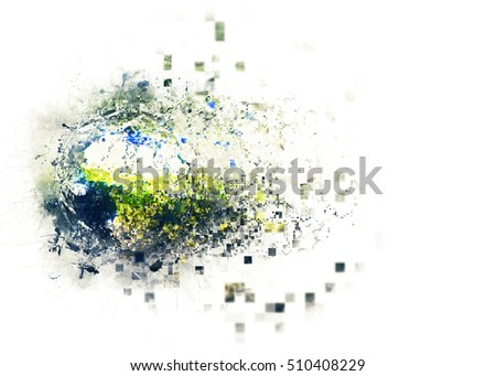 Planet Earth Globe 3D Illustration - Digital Pixels Technology Explosion Effect