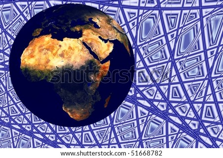 Planet earth globe illustration 3d render with background - stock photo