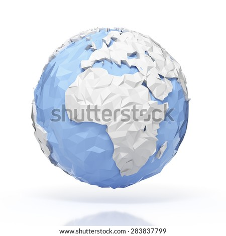 Planet Earth globe - origami style - isolated with clipping path - stock photo
