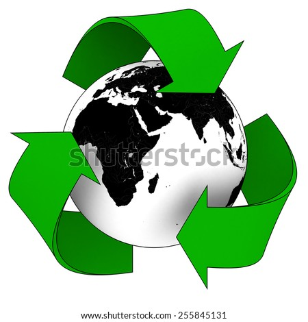 Planet Earth Green Recycling Symbol - Elements of this image furnished by NASA - stock photo